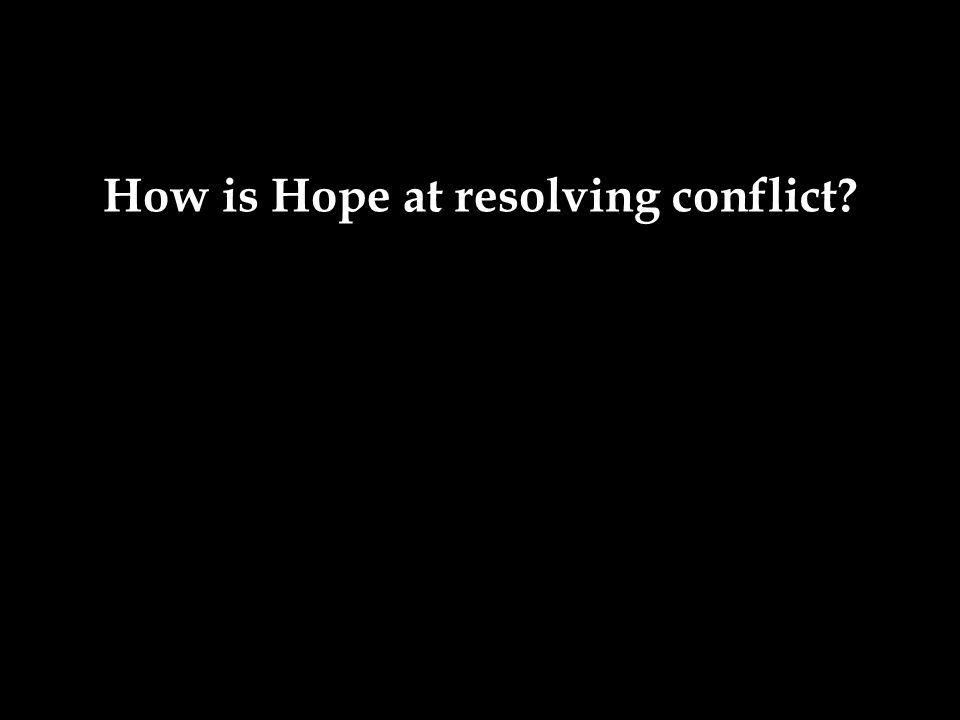 How is Hope at resolving conflict