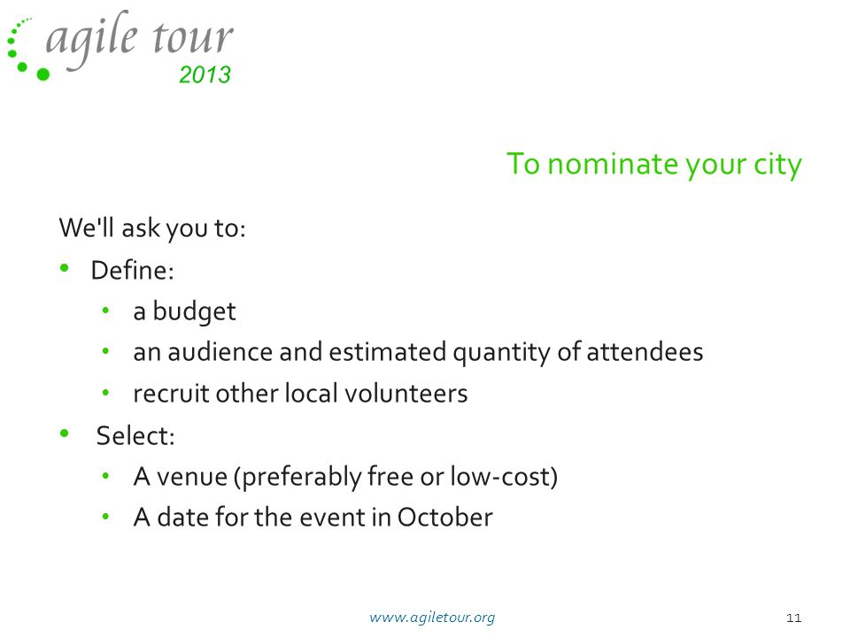 To nominate your city We ll ask you to: Define: a budget