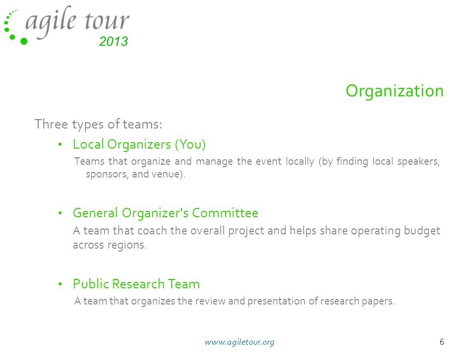 Organization Three types of teams: Local Organizers (You)