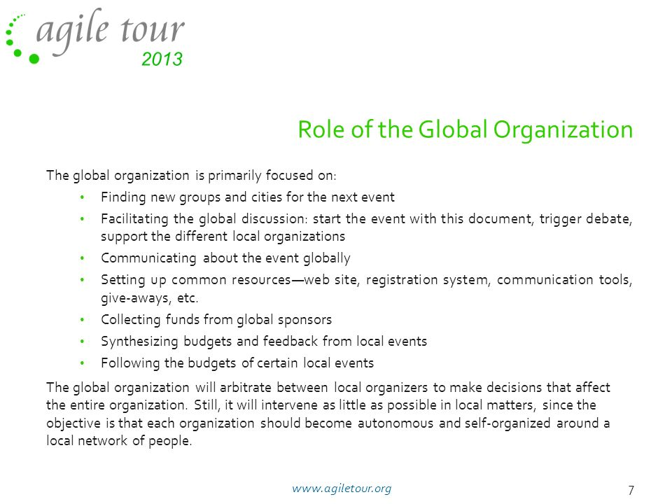 Role of the Global Organization