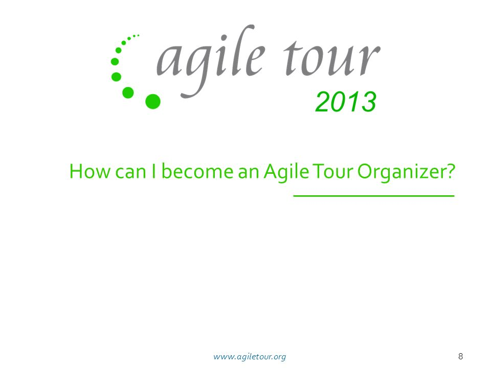 How can I become an Agile Tour Organizer