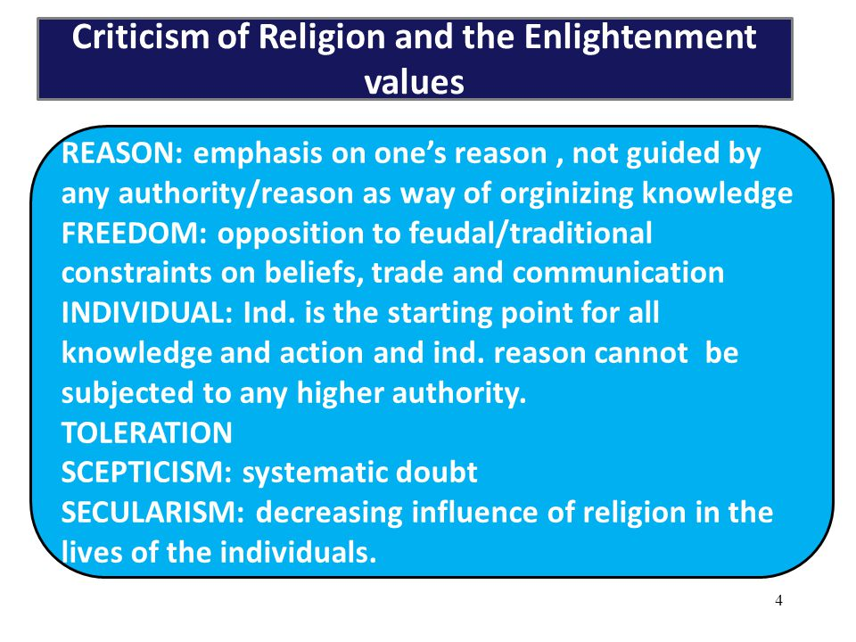 Criticism of Religion and the Enlightenment values