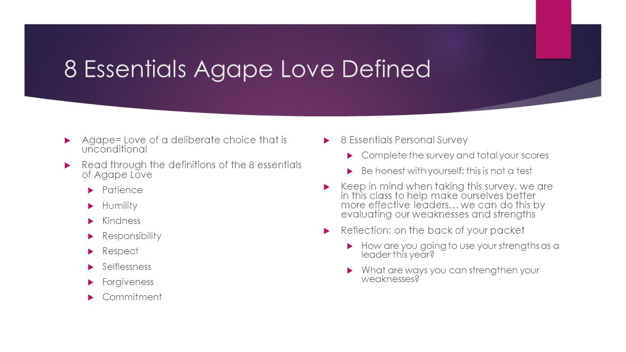 8 Essentials Agape Love Defined