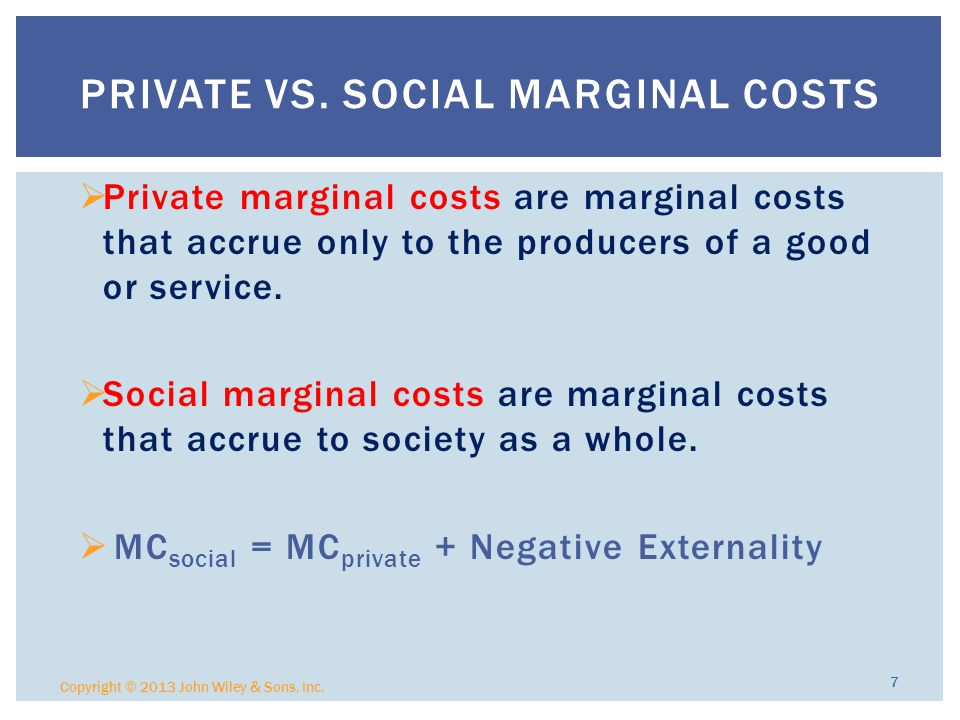 Private vs. Social Marginal Costs