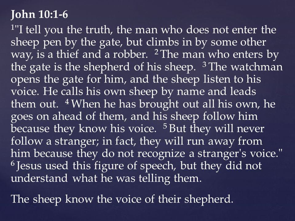 John 10:1-6 1 I tell you the truth, the man who does not enter the sheep pen by the gate, but climbs in by some other way, is a thief and a robber.