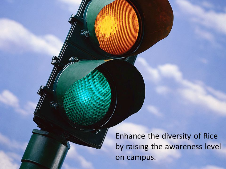Enhance the diversity of Rice by raising the awareness level on campus.