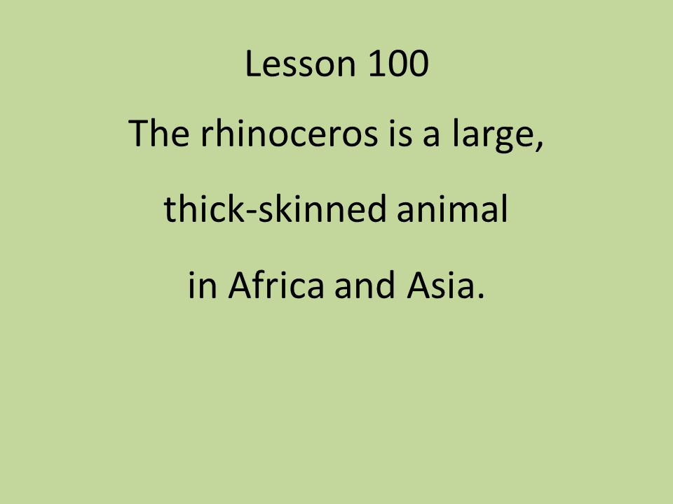 The rhinoceros is a large, thick-skinned animal in Africa and Asia.
