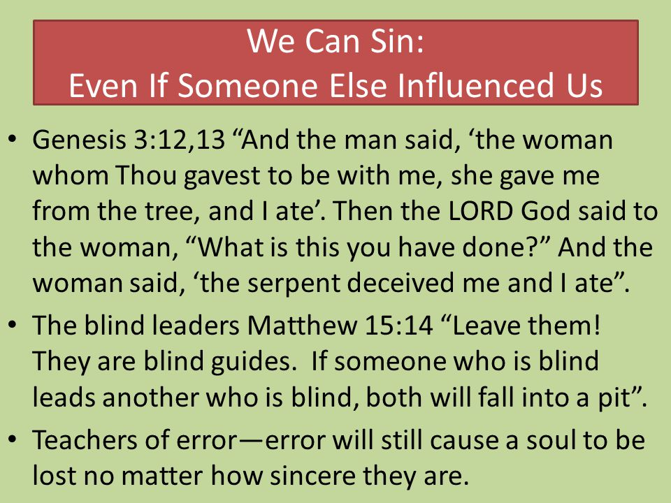 We Can Sin: Even If Someone Else Influenced Us