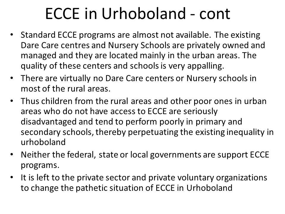ECCE in Urhoboland - cont