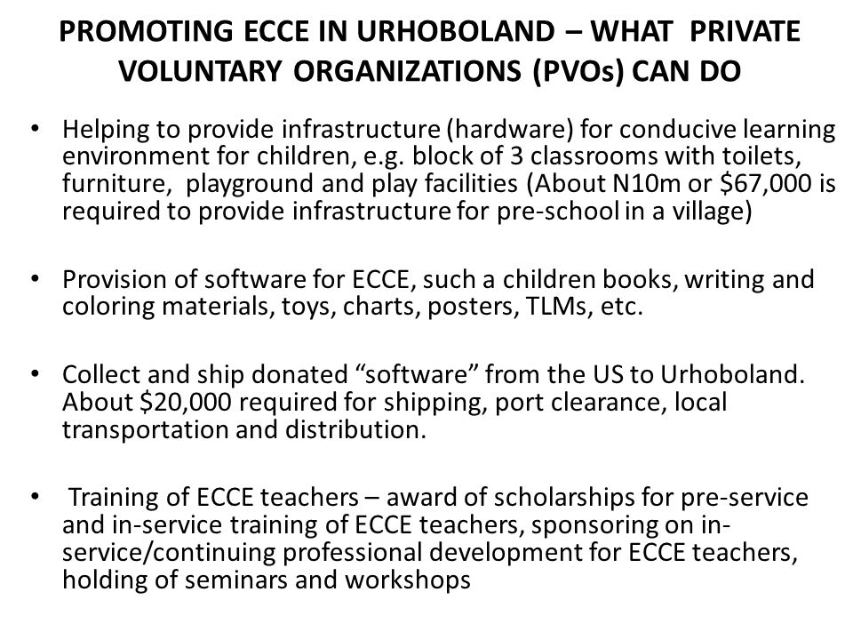 PROMOTING ECCE IN URHOBOLAND – WHAT PRIVATE VOLUNTARY ORGANIZATIONS (PVOs) CAN DO