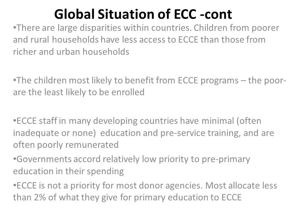 Global Situation of ECC -cont