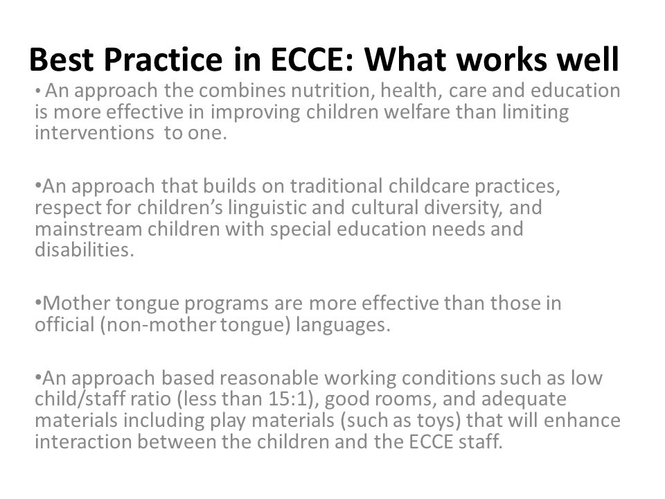 Best Practice in ECCE: What works well