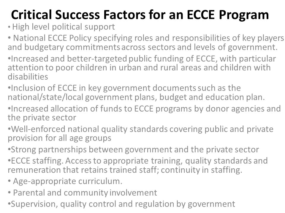 Critical Success Factors for an ECCE Program