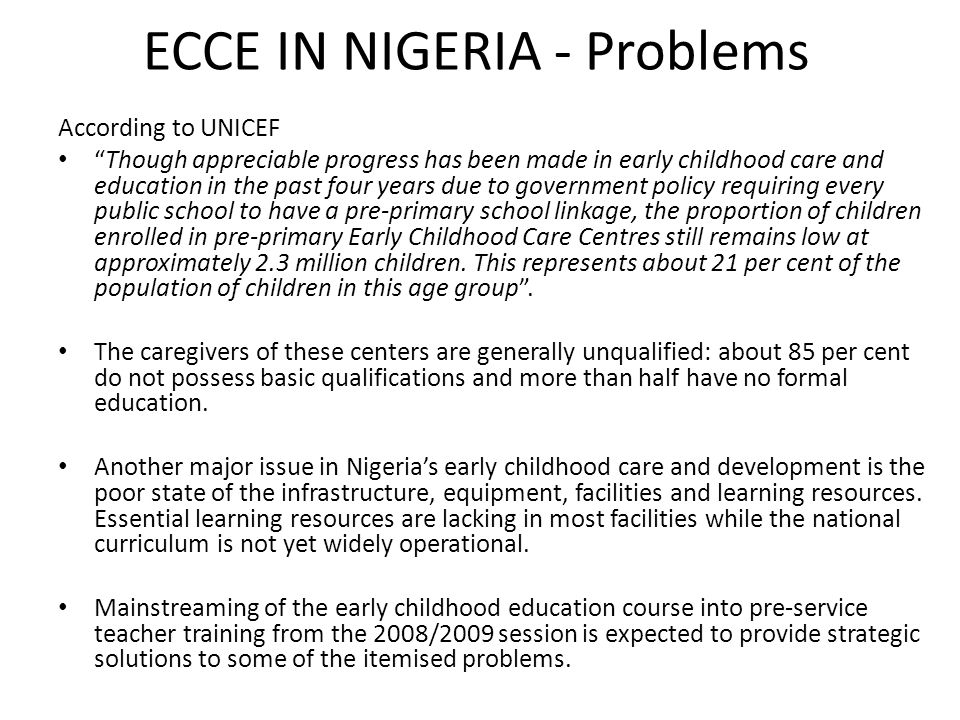 ECCE IN NIGERIA - Problems