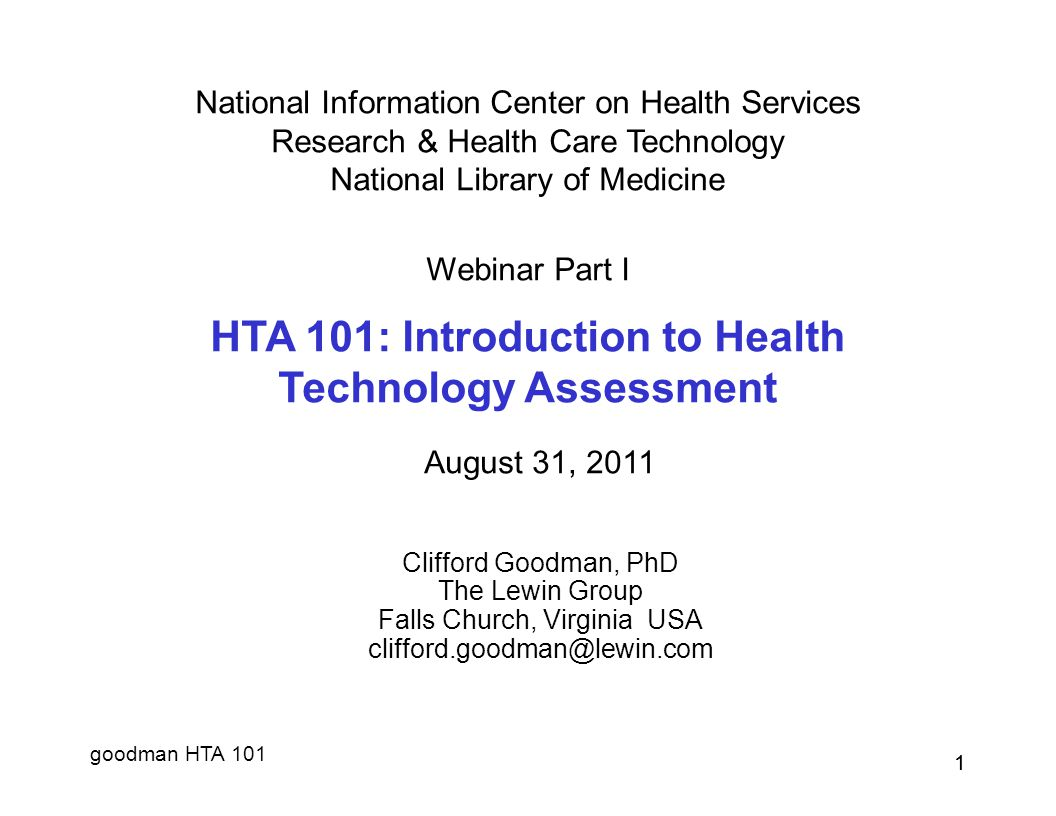 HTA 101: Introduction to Health Technology Assessment