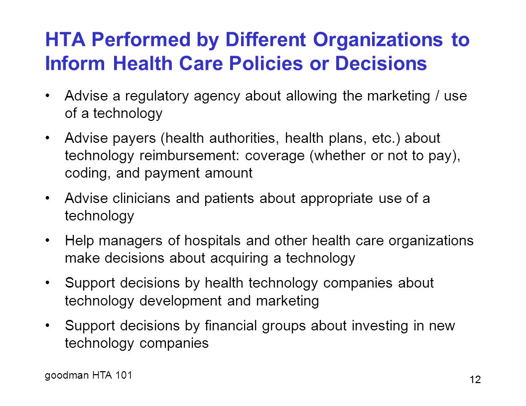 HTA Performed by Different Organizations to Inform Health Care Policies or Decisions