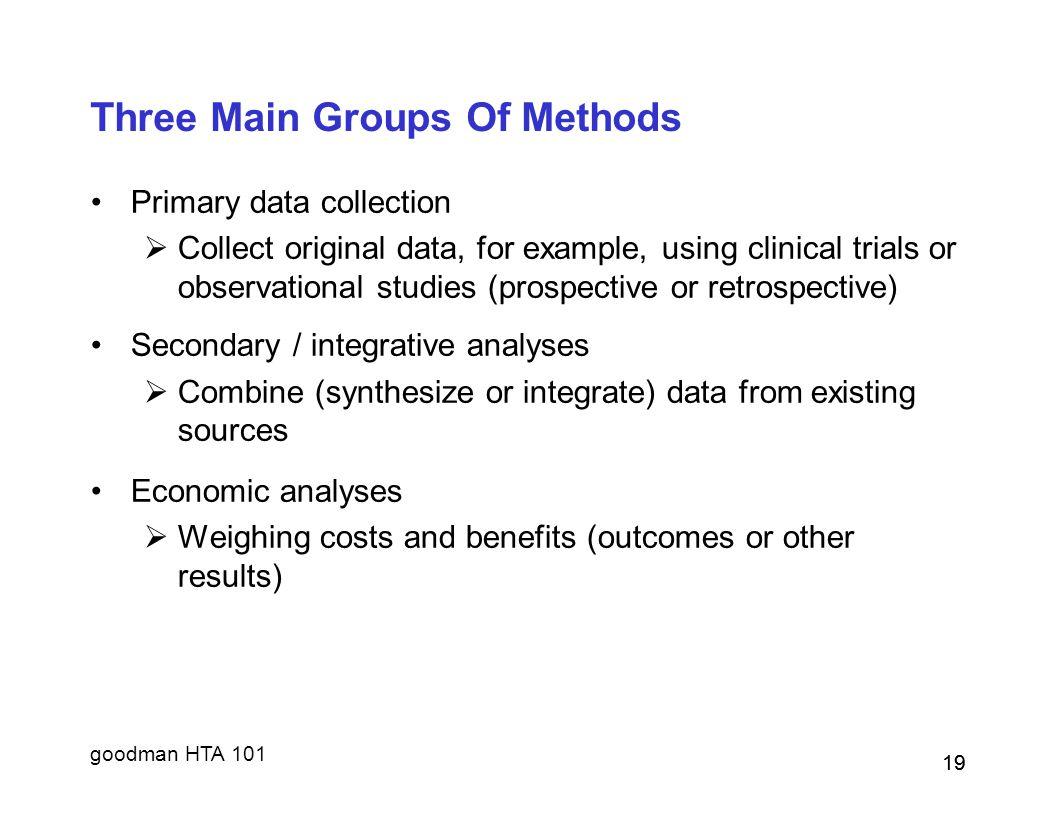 Three Main Groups Of Methods