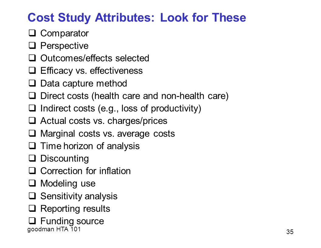 Cost Study Attributes: Look for These