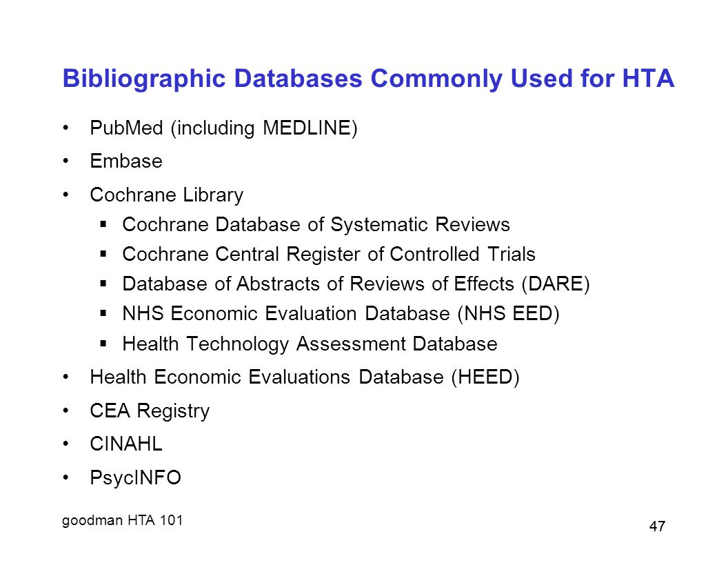 Bibliographic Databases Commonly Used for HTA