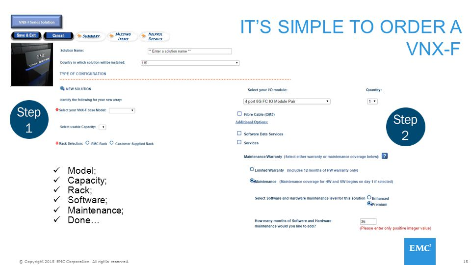 IT'S SIMPLE TO ORDER A VNX-F