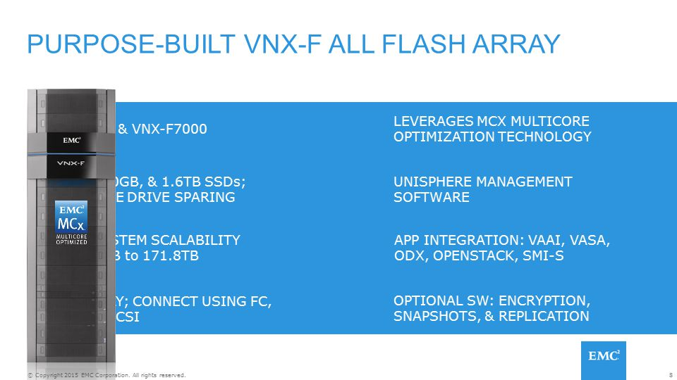 PURPOSE-BUILT VNX-F ALL FLASH ARRAY