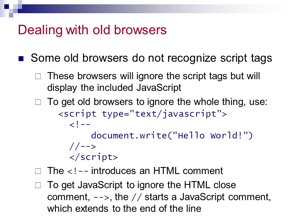 Dealing with old browsers