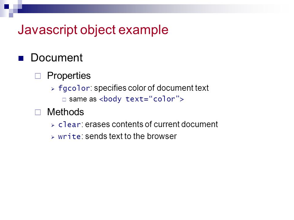 Javascript object example