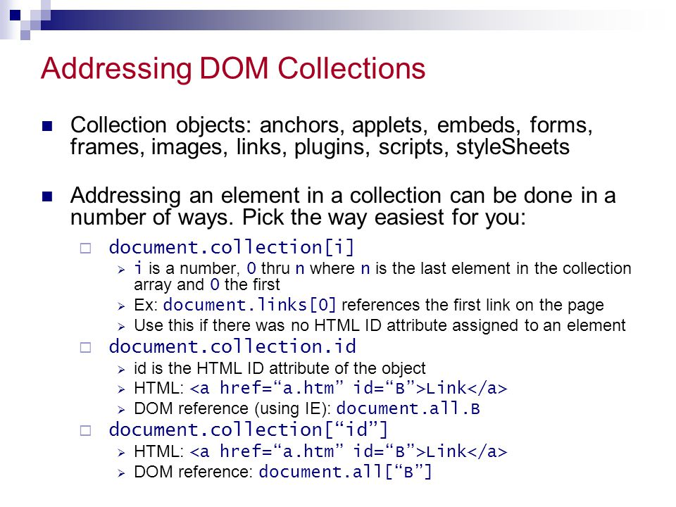 Addressing DOM Collections