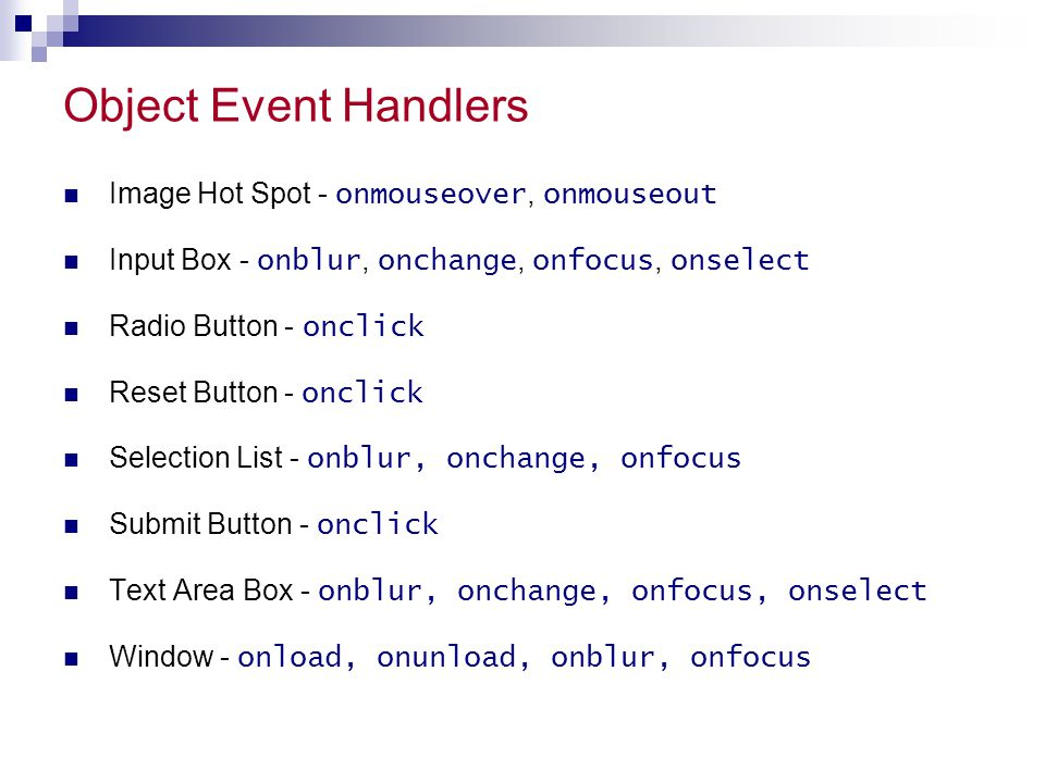Object Event Handlers Image Hot Spot - onmouseover, onmouseout
