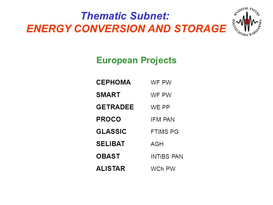 ENERGY CONVERSION AND STORAGE
