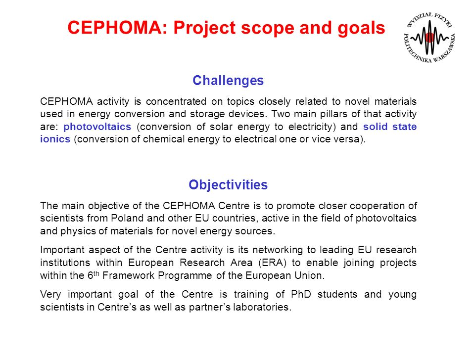 CEPHOMA: Project scope and goals