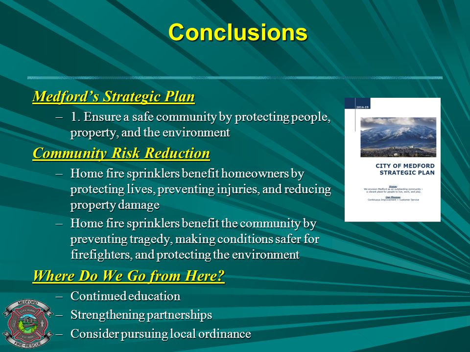 Conclusions Medford's Strategic Plan Community Risk Reduction