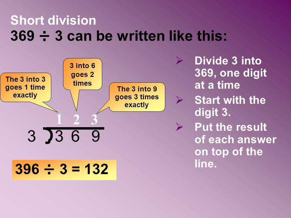 Short division 369 ÷ 3 can be written like this: