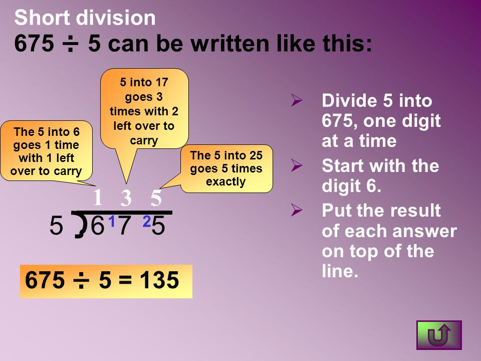 Short division 675 ÷ 5 can be written like this: