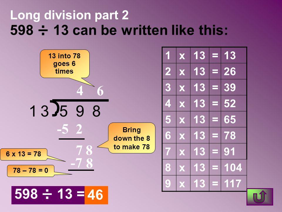Long division part 2 598 ÷ 13 can be written like this: