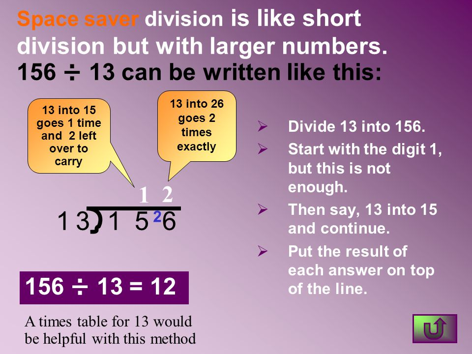 Space saver division is like short division but with larger numbers