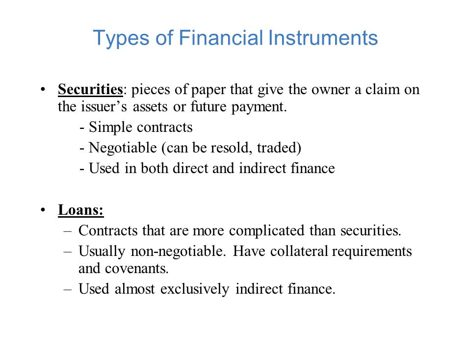 Types of Finance Direct Finance Indirect Finance