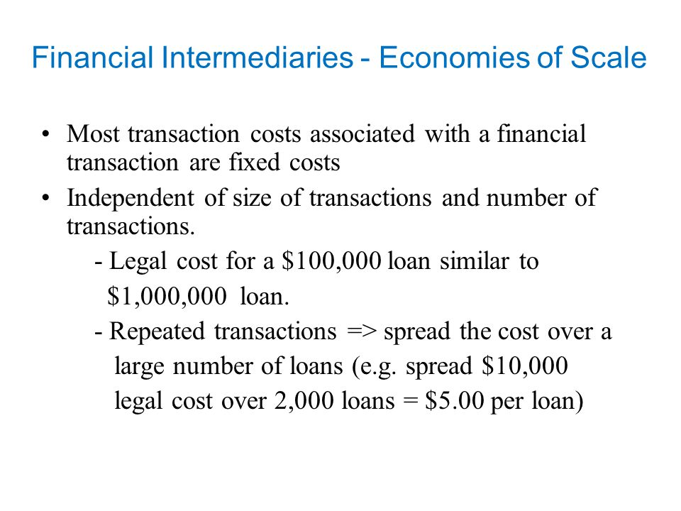 Financial Intermediaries - liquidity