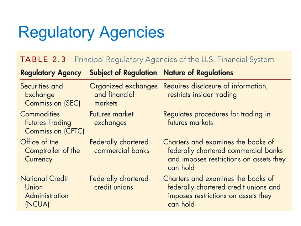 Regulatory Agencies (cont.)