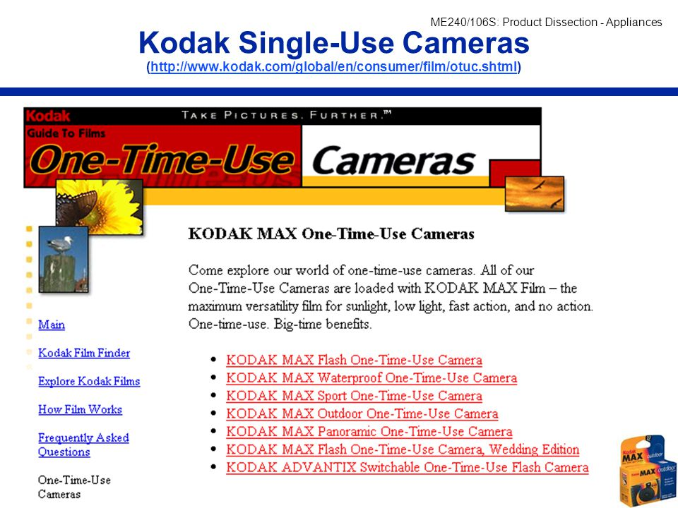 Kodak Single-Use Cameras (http://www. kodak