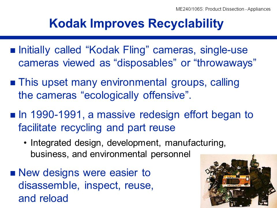 Kodak Improves Recyclability