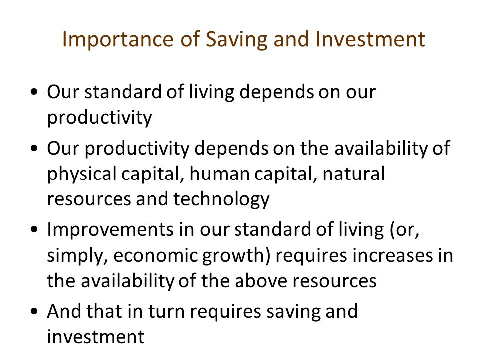 Importance of Saving and Investment