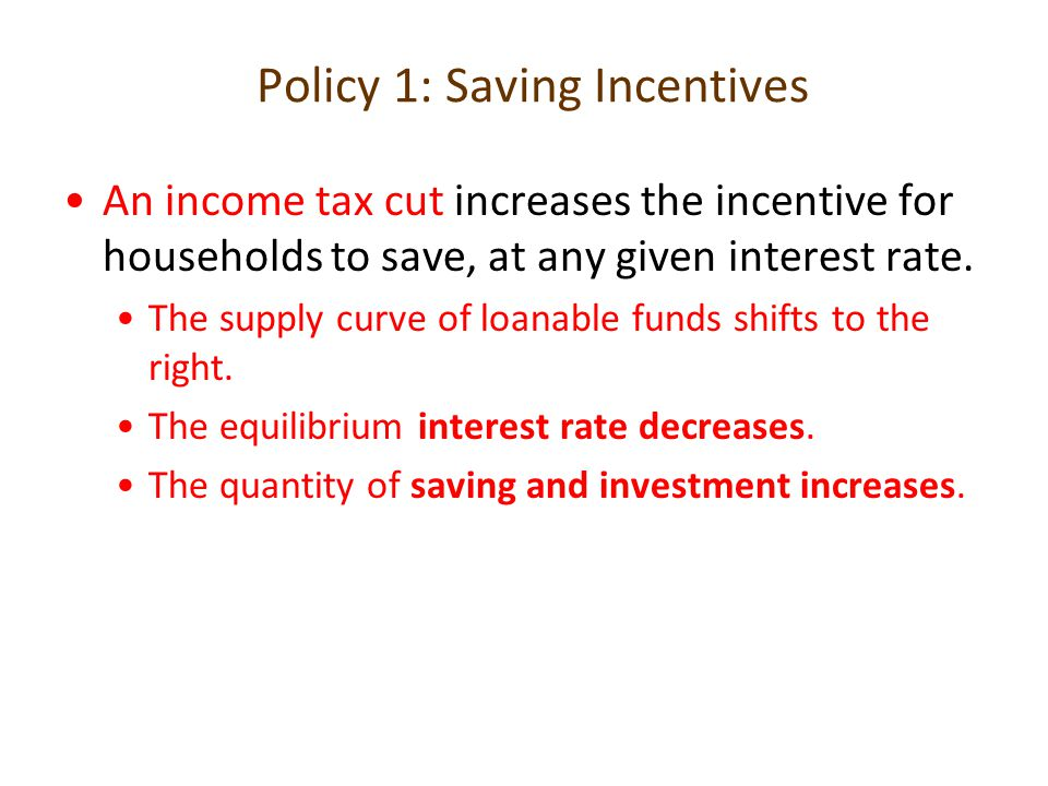 Policy 1: Saving Incentives