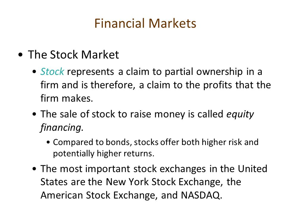 Financial Markets The Stock Market