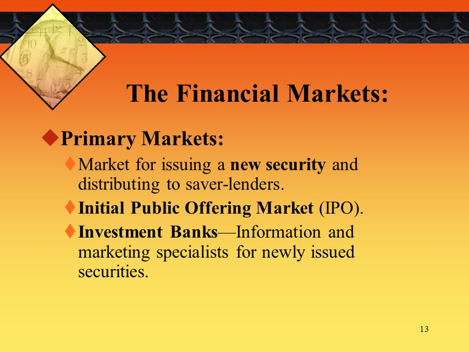 The Financial Markets: