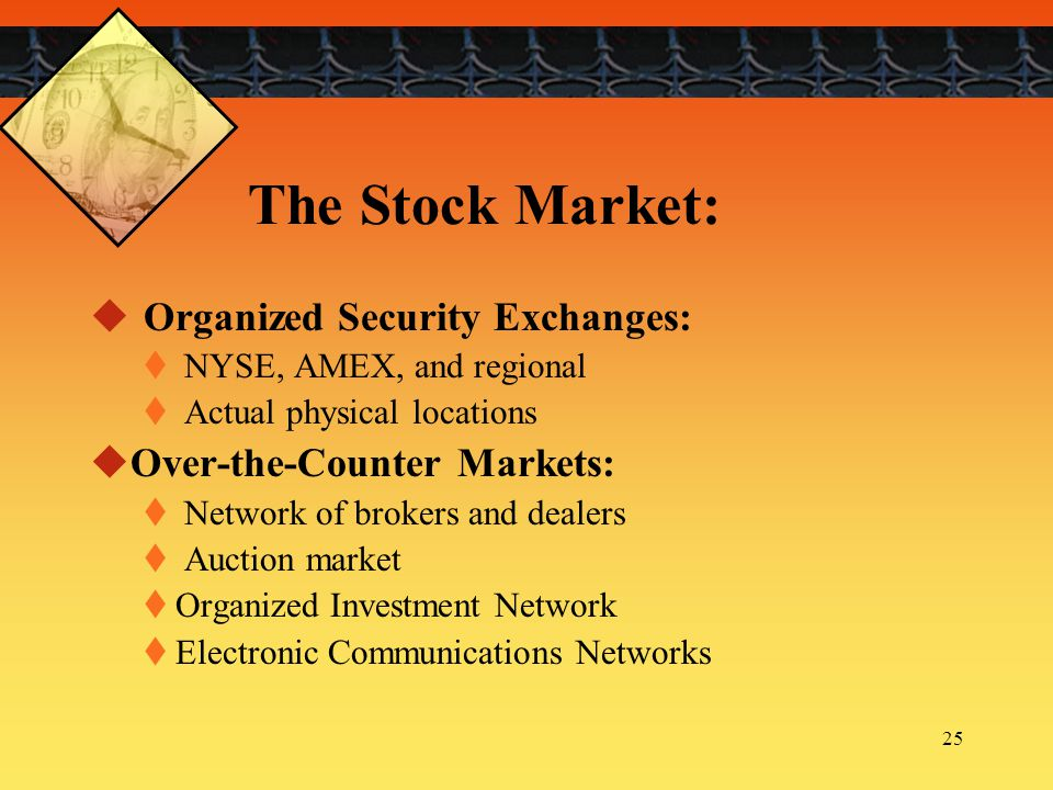 The Stock Market: Organized Security Exchanges: