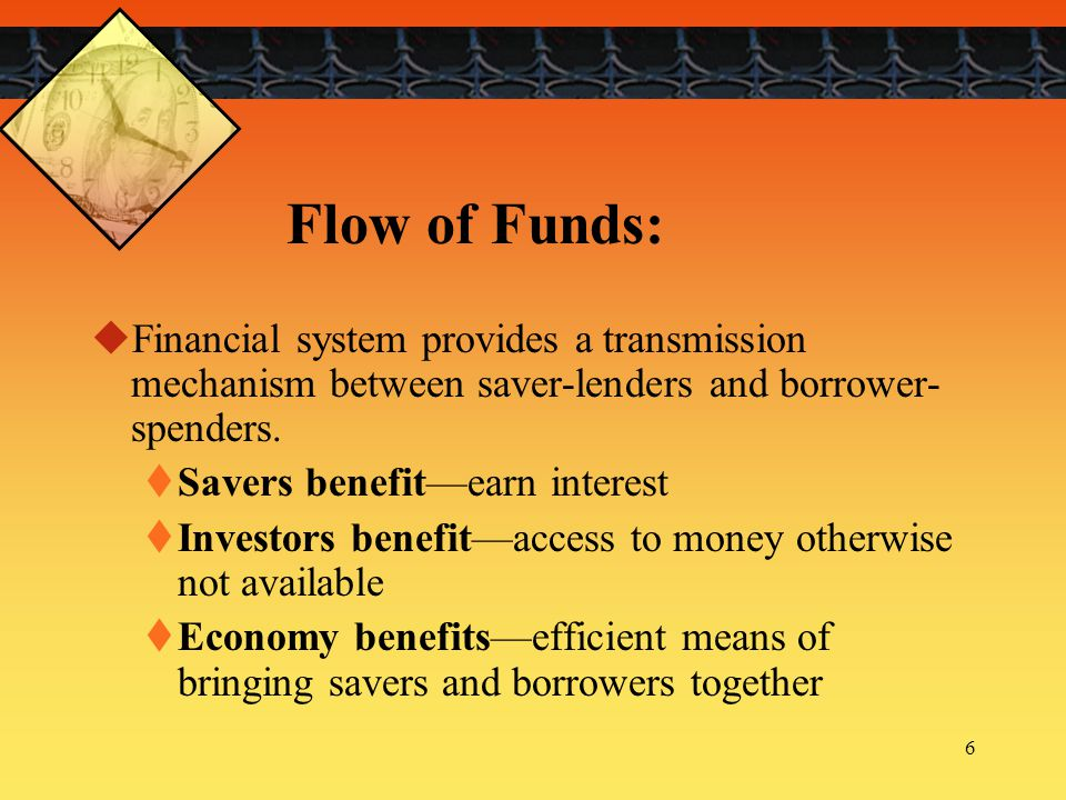 Flow of Funds: Financial system provides a transmission mechanism between saver-lenders and borrower-spenders.