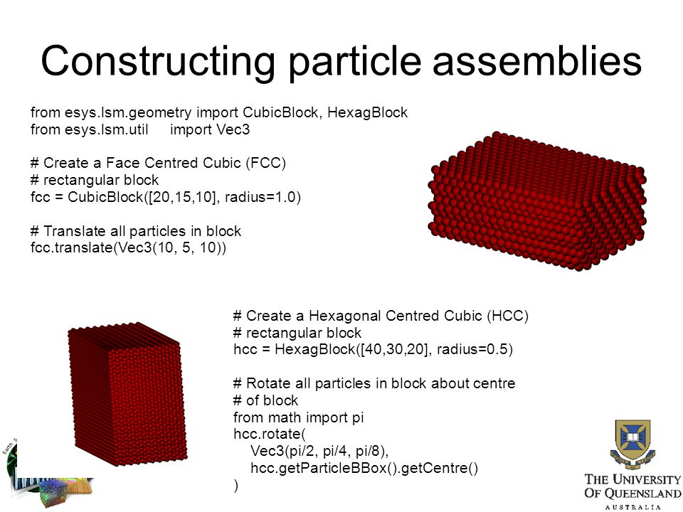 Constructing particle assemblies