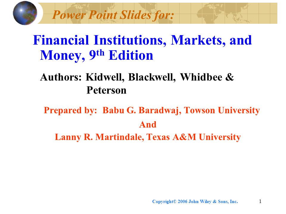 Power Point Slides for: