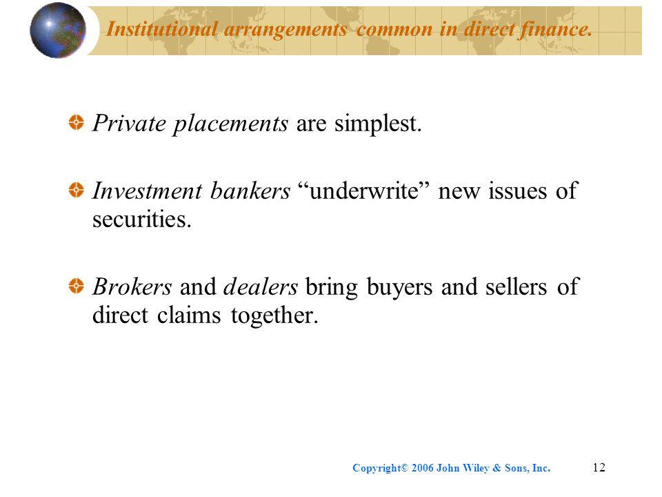 Institutional arrangements common in direct finance.